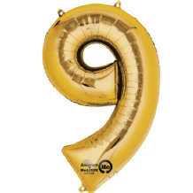"Gold Number 9 Mini-Foil Balloon (16"" Air) 1pc"
